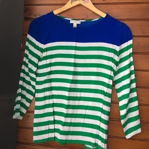 J. Crew blu/stripe 3/4 length sleeve preppy blouse